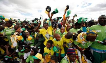 ZANU-PF supporters rallying ahead of the Zimbabwean election.